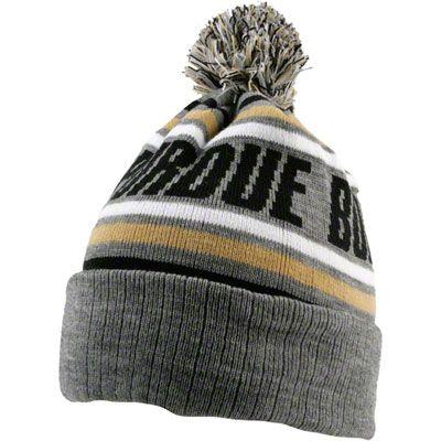 967450ba646 Purdue Boilermakers Grey Stryker Pom Top Cuffed Knit Hat
