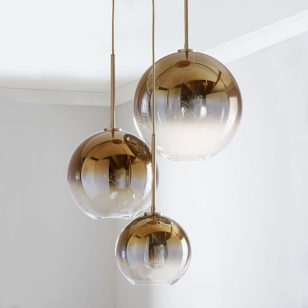 Sculptural Glass 3 Light Round Globe Chandelier S M L Silver Ombre Shade Bronze Canopy At West Elm Chandeliers And Lights