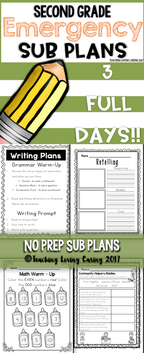 Sub Plans - Second Grade | Word work, Common cores and Math