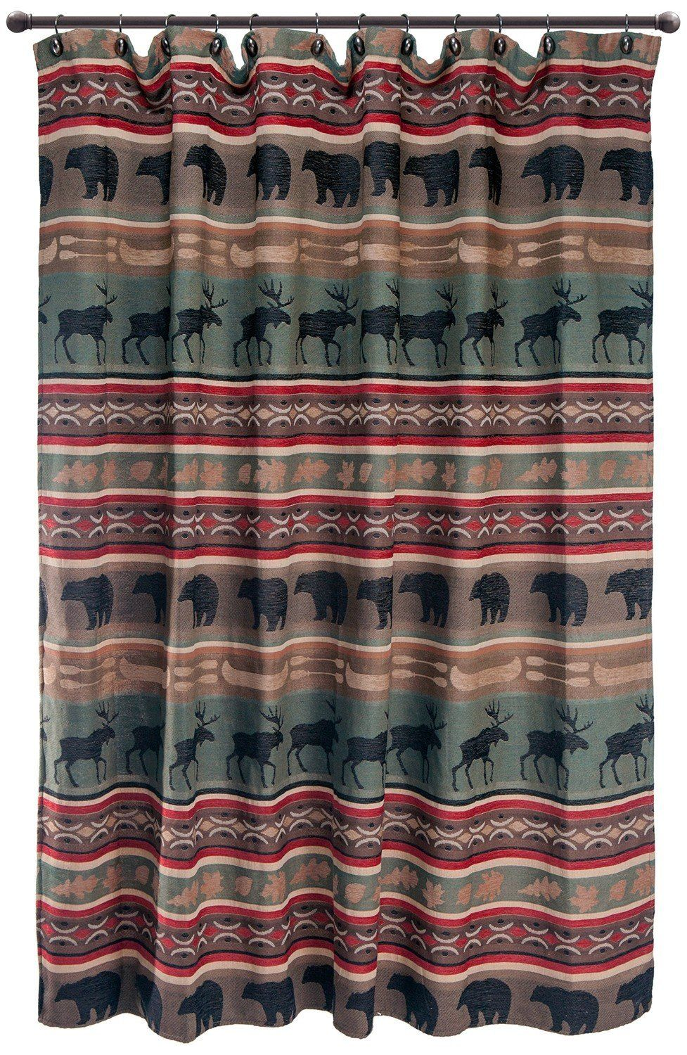 Backwoods Shower Curtain Rustic Curtains Bathroom Red Curtains