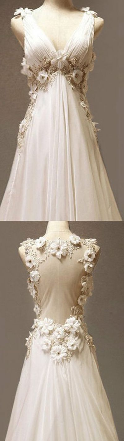 beautifully romantic a line lace flower keyhole backless organza v neck chiffon wedding gown.