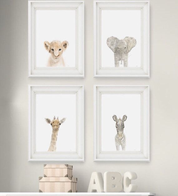 Canvas Wrapped Safari Nursery Prints Free Shipping Baby Nursery Decor Baby Decor Baby Girl Room