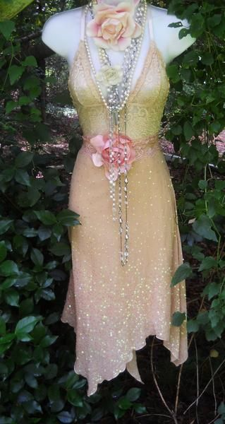 I found 'Lace sequin dress  beige nude tea stained  sparkle silk bohemian rose medium  by vintage opulence on Etsy' on Wish, check it out!