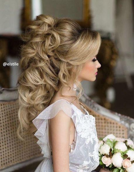 Curly Long Hair Updo Wedding Hairstyle Modwedding Long Hair Styles Hair Styles Romantic Wedding Hair