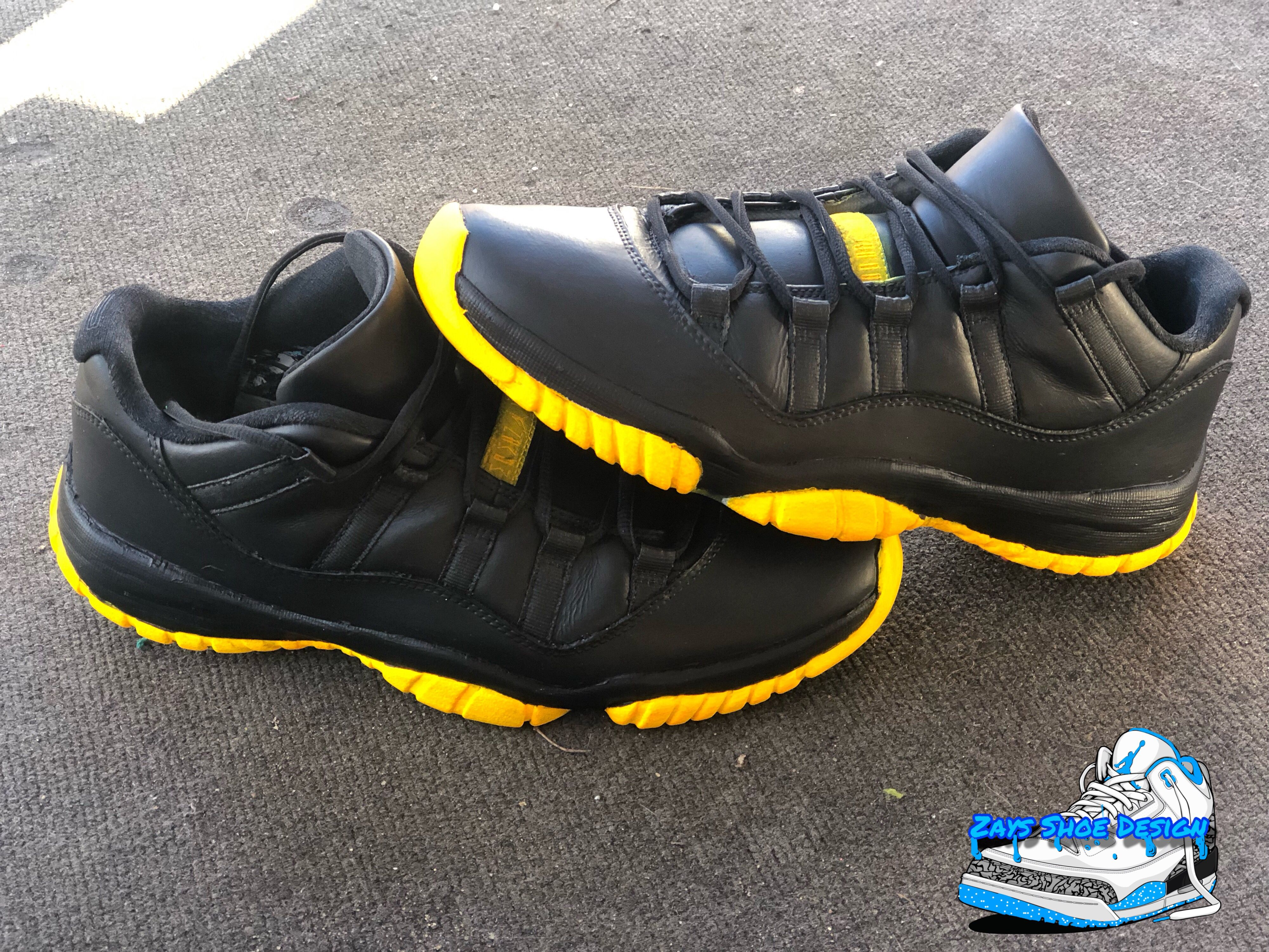 48fcd82dd2e #zaysshoedesign #customshoes #jordans #jordan11 #nike #sunset #black #yellow
