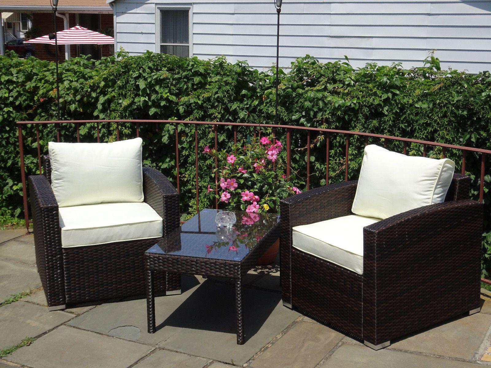Furnitures Patio Resin Outdoor 3 Pc Wicker Lounge Set Dark Brown 2