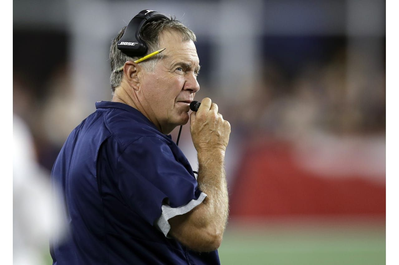 New England Patriots Head Coach Bill Belichick Watches From The Sideline During The First Half Of A Preseason Nfl Football Patriots Preseason Patriots Redskins