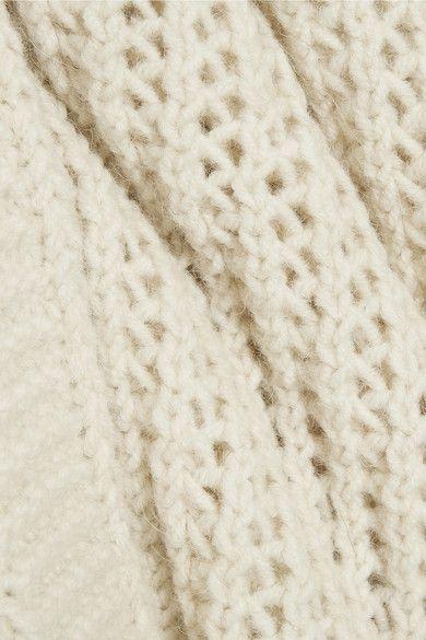 Chloé - Oversized Open-knit Turtleneck Sweater - Cream