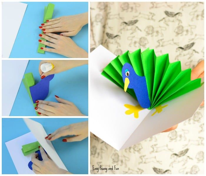 Pop Up Cards Making Ideas Part - 35: Paper Peacock Pop Up Card Craft For Kids