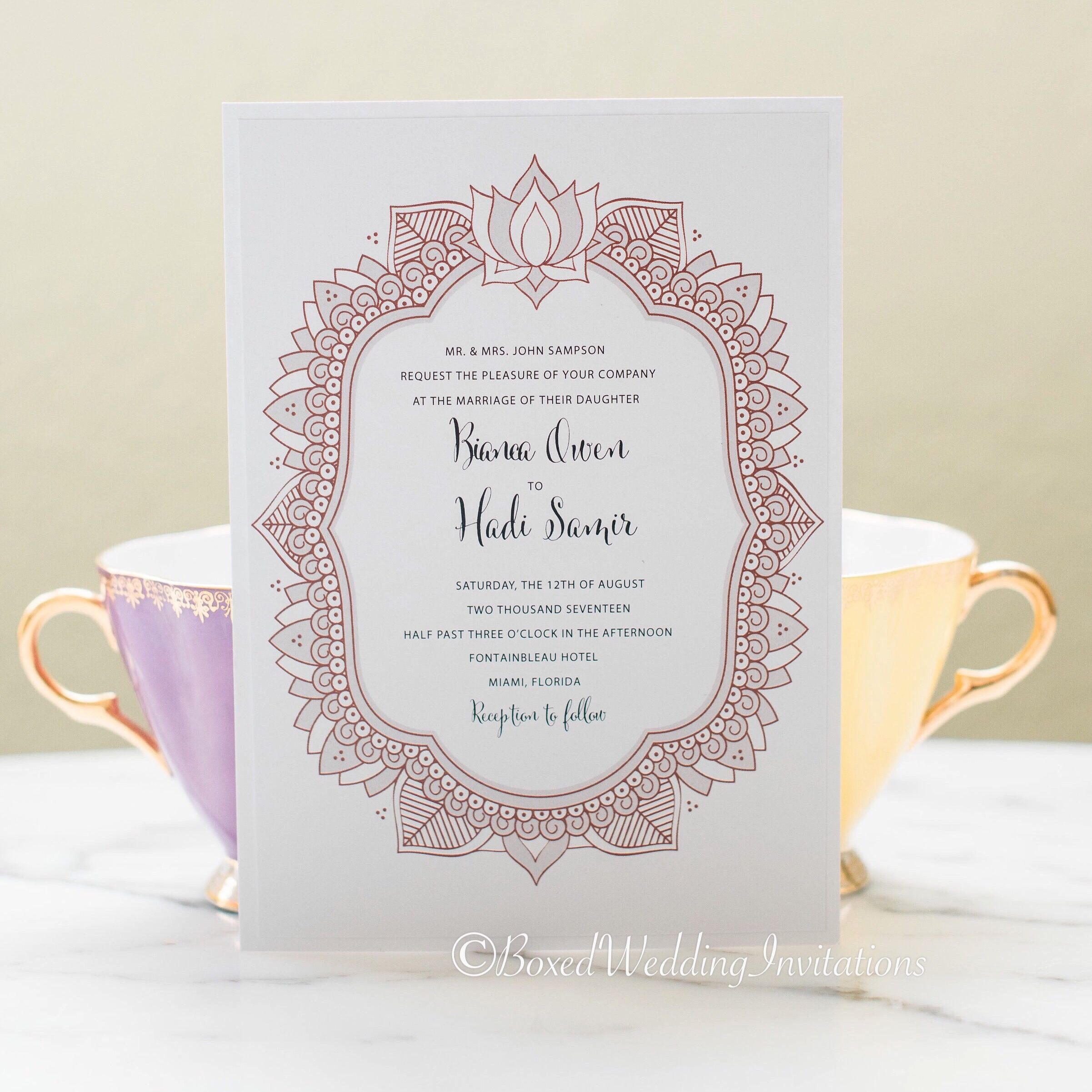 This beautiful invite printed on double layer white cardstock and ...