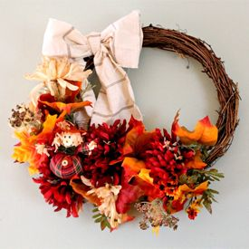 Take dollar store finds and turn a basic fall wreath into WOW!