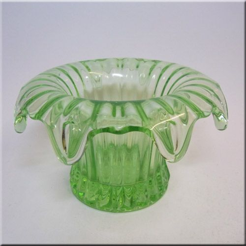 Art Glass British Sowerby Art Deco Glass Vase Sowerby Iris Green Glass Vase 1930s