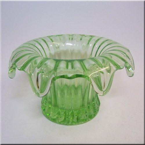 Bagley/sowerby/davidson British Sowerby Art Deco Glass Vase Sowerby Iris Green Glass Vase 1930s