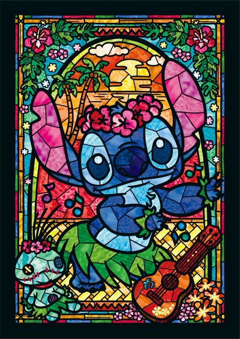 STITCH Disney Stained Glass 451 Modern Cross Stitch Pattern | Etsy