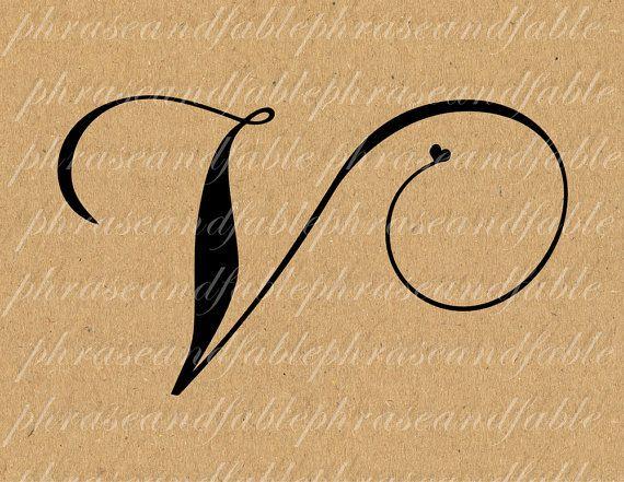 Letter V Hearts 292 Digital Download Alphabet By Phraseandfable 199