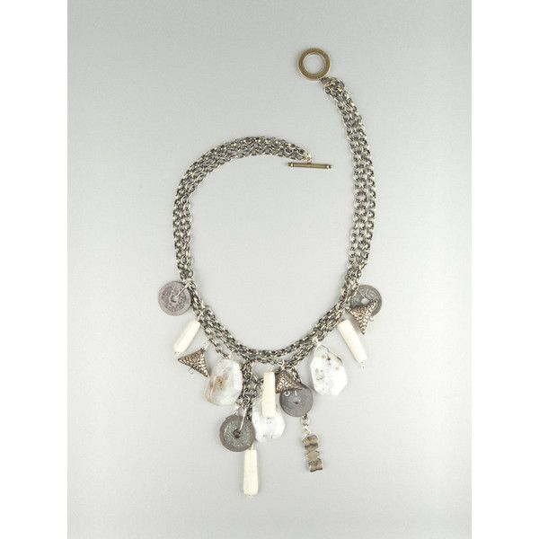 Brass chains with agate and bone via Polyvore