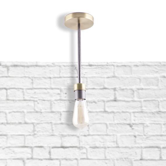 Photo of Semi Flush Ceiling Pendant Light | Metal Rustic Lighting | Farmhouse Light Fixture |Mixed metal Ceiling Light Fixture | Industrial Lighting