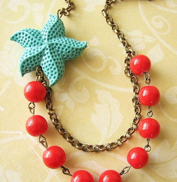 Bridesmaid Jewelry Starfish Necklace Red Jewelry by zafirenia, $34.00