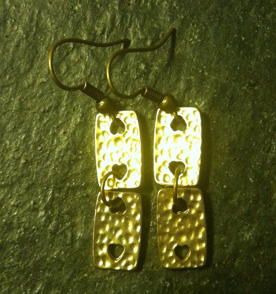 Gold Heart Block Earrings by AllMyAdornments on Etsy, $5.00