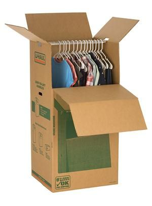 Image result for clothes in a cardboard box hanging up
