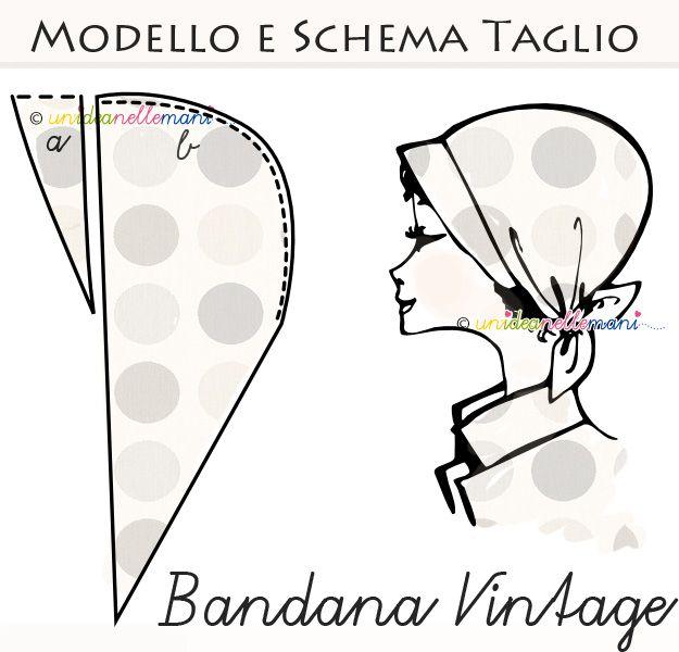 bandana, modello bandana, cartamodello bandana, schema bandana, bandana fai da te, fazzoletto testa, cappello estate, copricapo estate, foul...