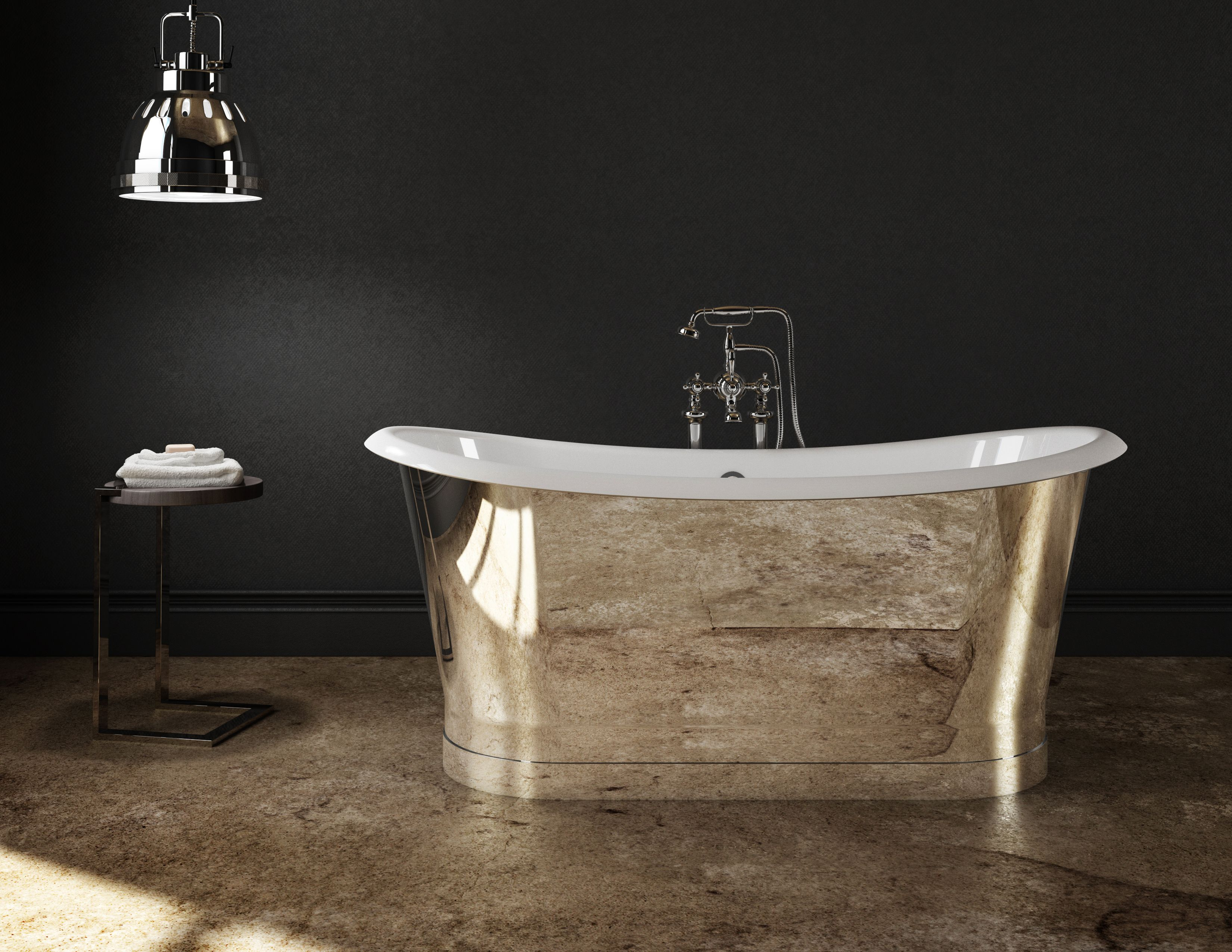 Cast Iron Freestanding bathtub - Mirror finish stainless steel skirt ...