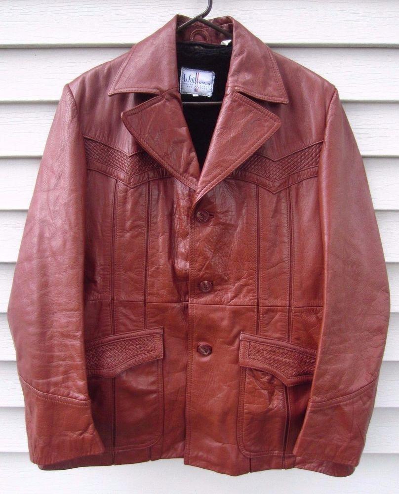 Vintage Wilsons Leather Jacket Burgundy 70 S Men S Size 44 L W Fleece Liner Wilsons Leather Jacket Leather Jacket Leather Jacket Men