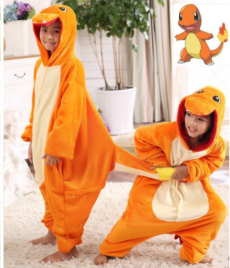 Pokemon Charmander Cosplay Jumpsuit Costume For Children Kids Onesie ...