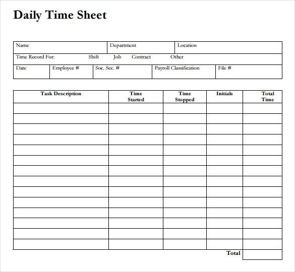 12 daily timesheet templates free sample example format - printable time sheet