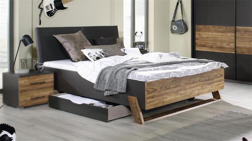 Bett Tokio Grau Metallic Fichte Polster Lederlook 140x200 Cm In 2020 Haus Deko Wohn Mobel Sofa Design