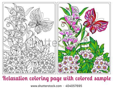 Decorative flowers, birds and butterflies. Coloring book for adult and older children. Coloring page with colored sample. Outline drawing. Vector illustration.