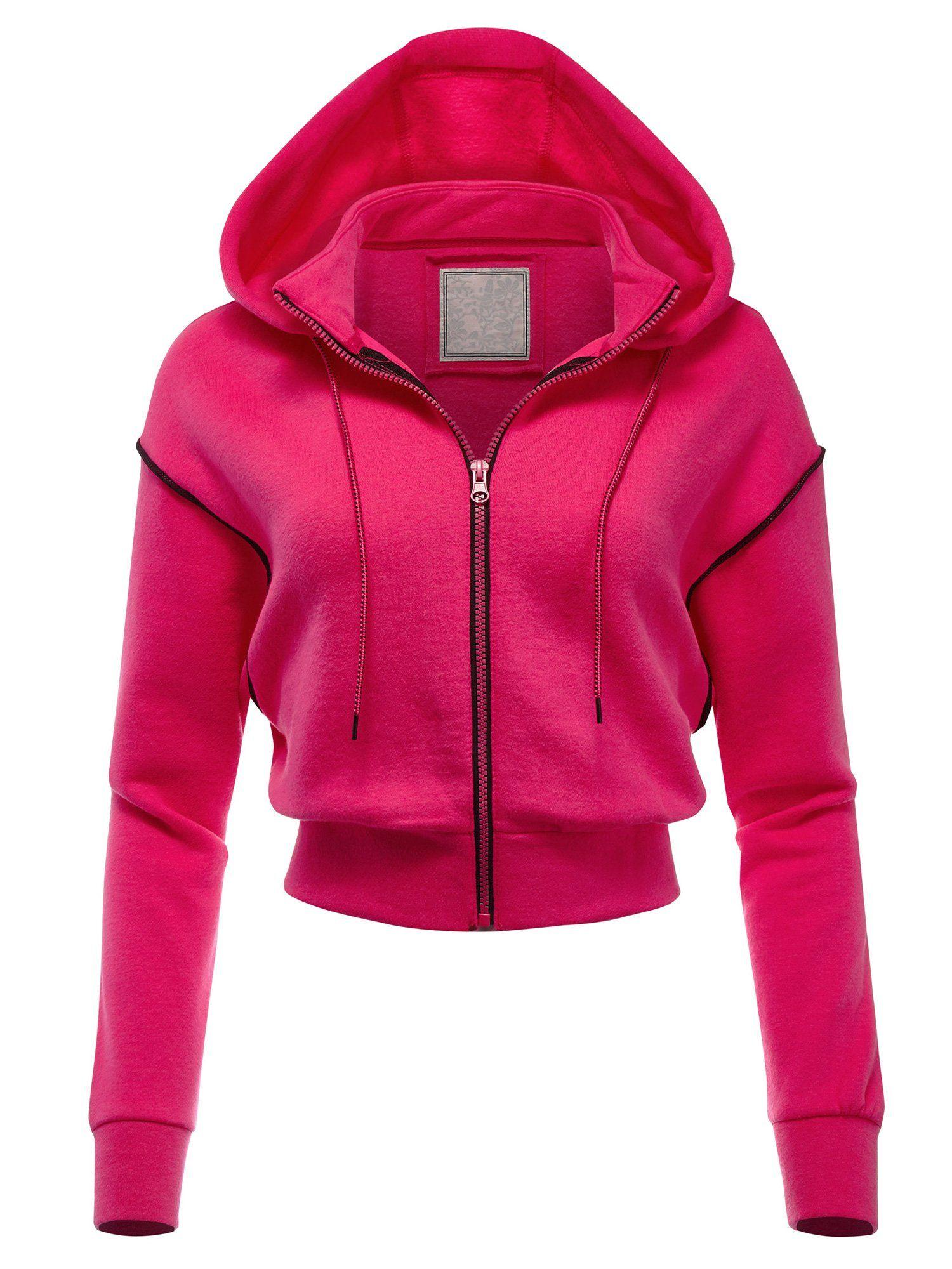 Women's Casual Fleece Full Zip-up Hoodie Outwear Jacket (FWJ1076) - NEON PINK / L