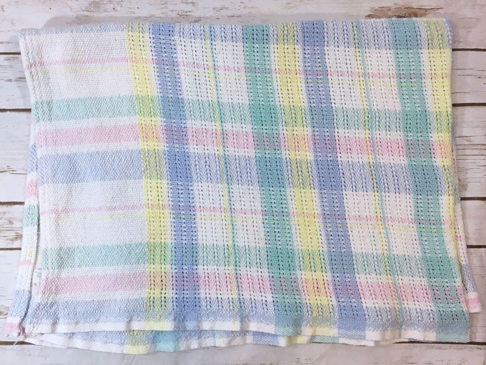Vintage Beacon Baby Blanket Pastel Woven Textured Plaid 100 Cotton Wpl 1675 Blanket Baby Blanket Woven