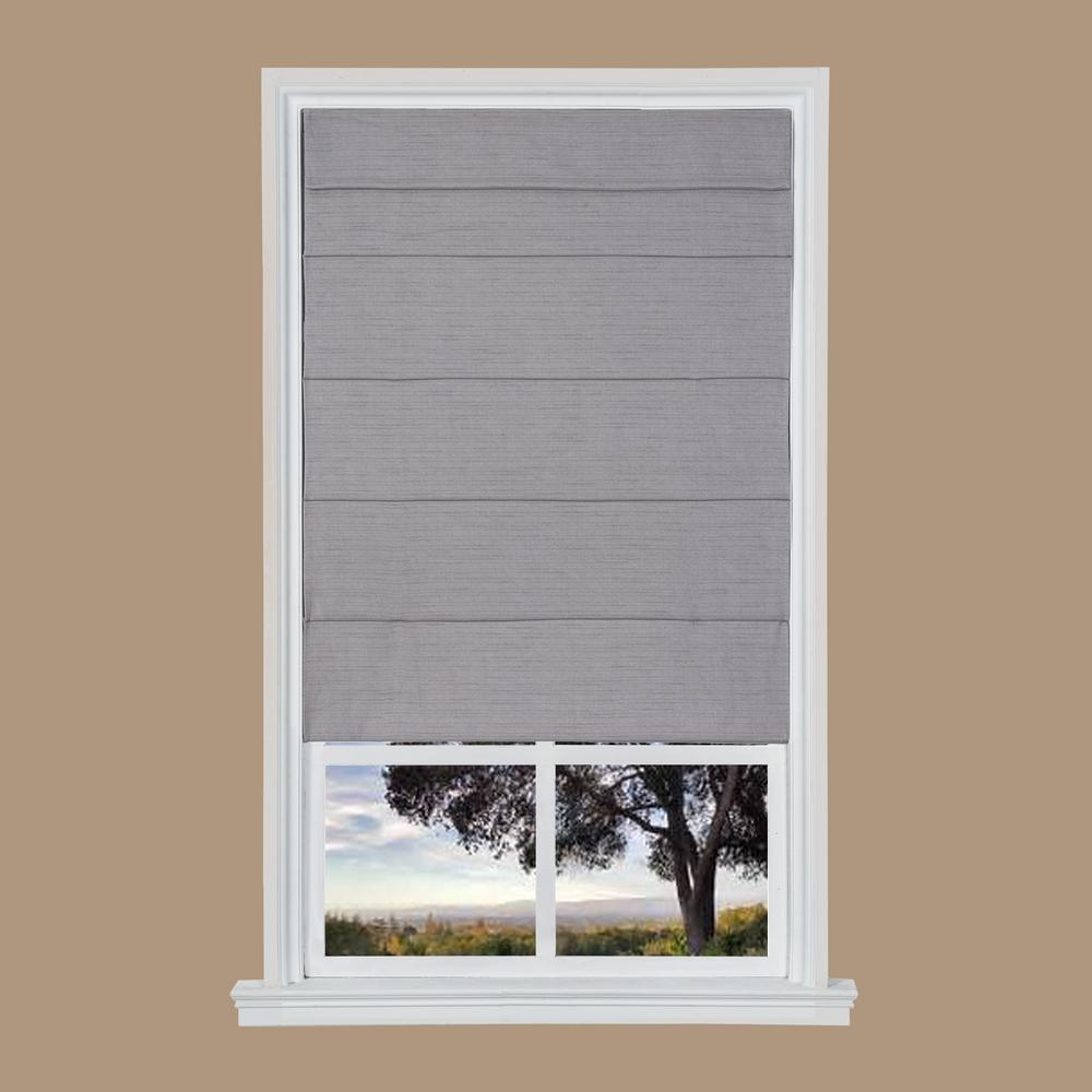 Gray Cordless Room Darkening Privacy Fabric Roman Shades 27 In W X 64 In L Nlqc2764 The Home Depot Fabric Roman Shades Roman Shades Cordless Roman Shades