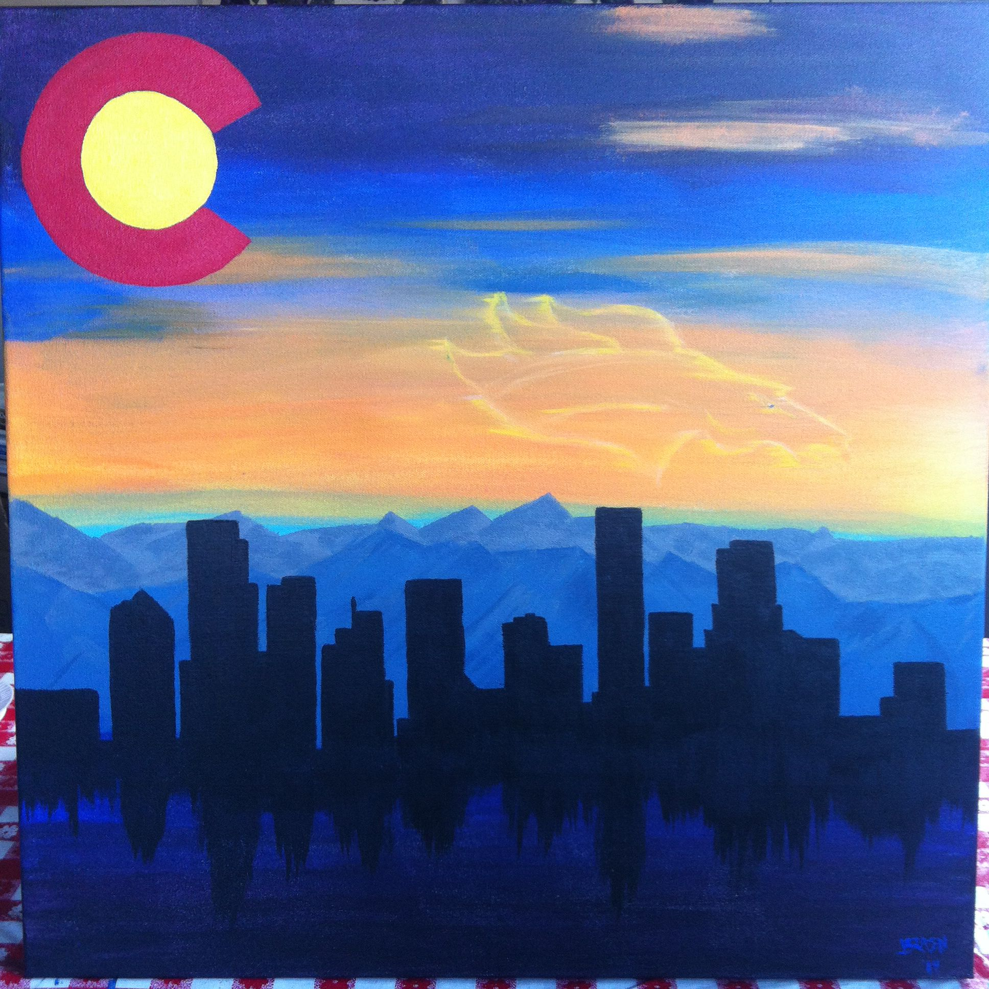Denver Skyline Colorado Flag Art Colorado Art