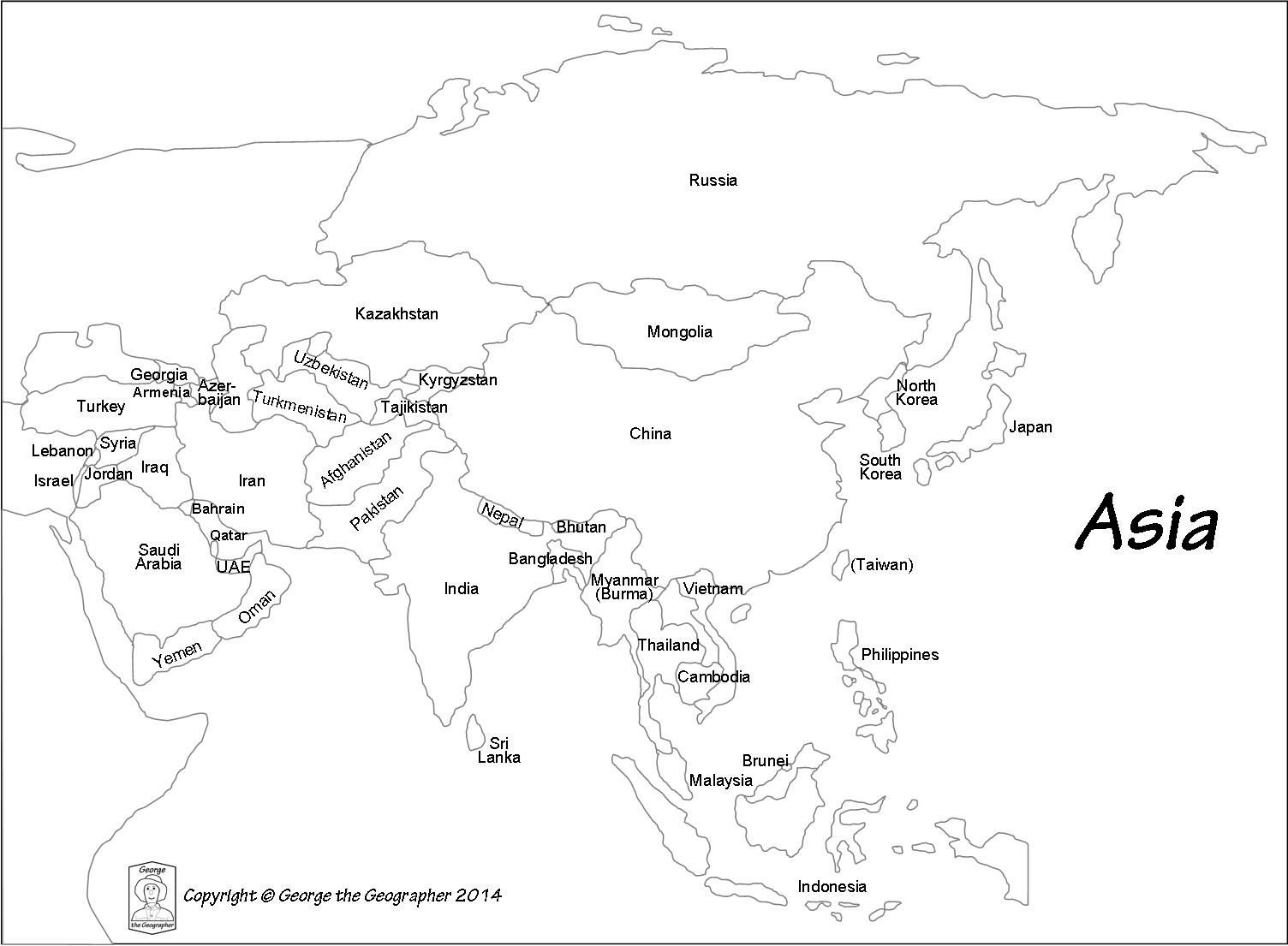 bccdabfdacfc best maps of asia map black and white | Asia ...