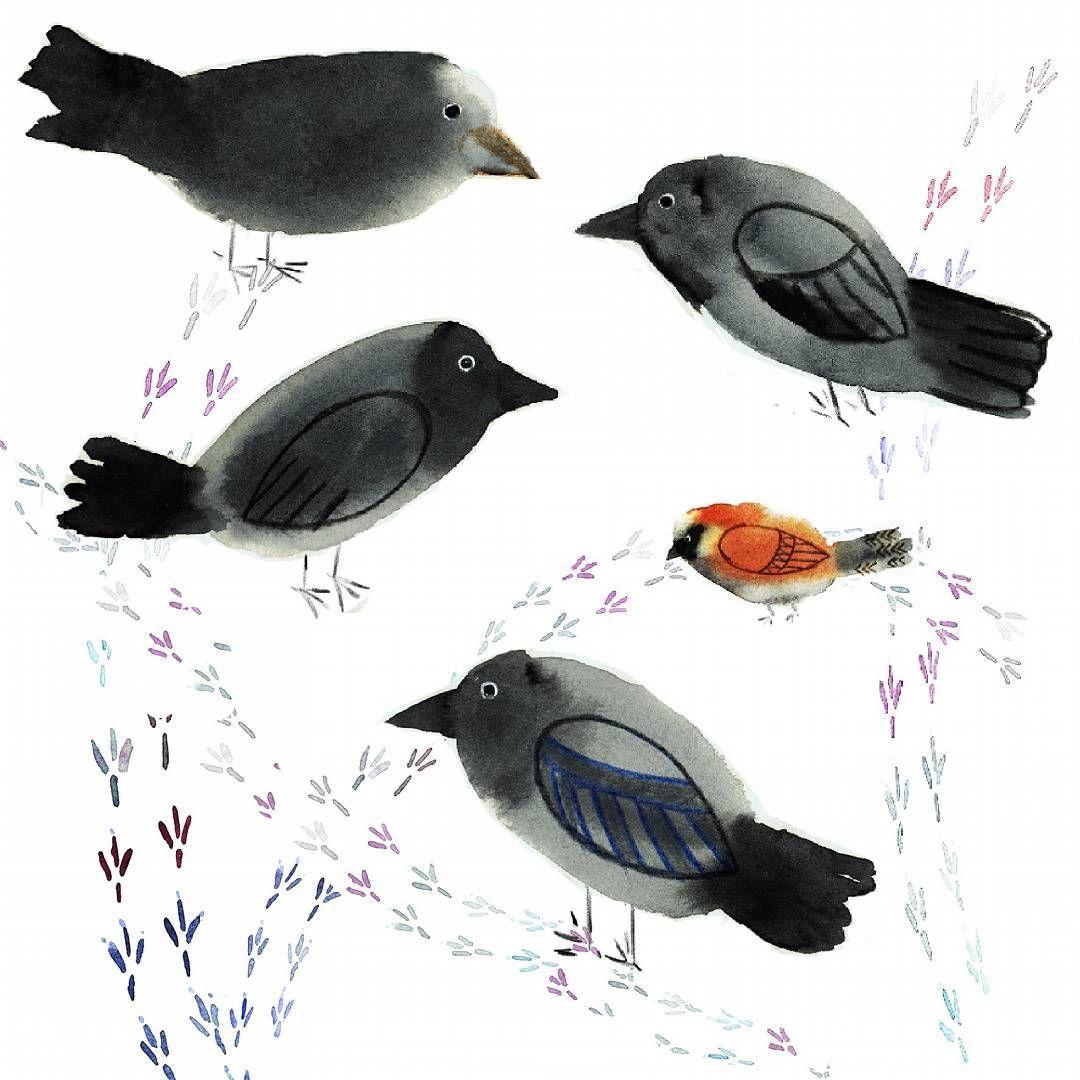 Watercolour Illustration Crows Illustration Arte
