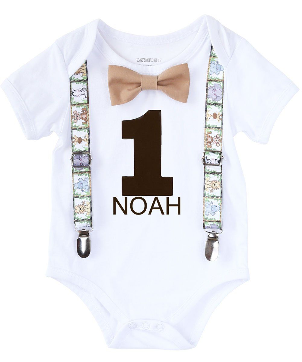 932df123 Jungle Safari Personalized First Birthday Shirt Suspenders and Bow Tie – Noah's  Boytique