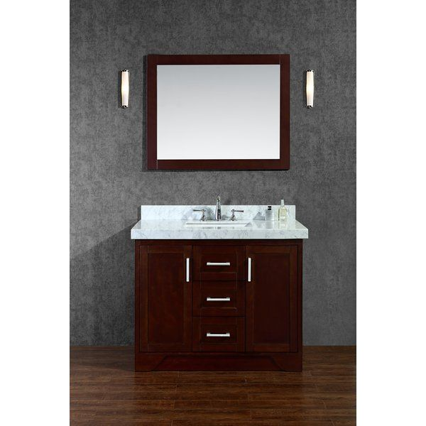 "Misty 42"" Single Bathroom Vanity Set With Mirror & Reviews Amusing Bathroom Cabinet Reviews Decorating Inspiration"