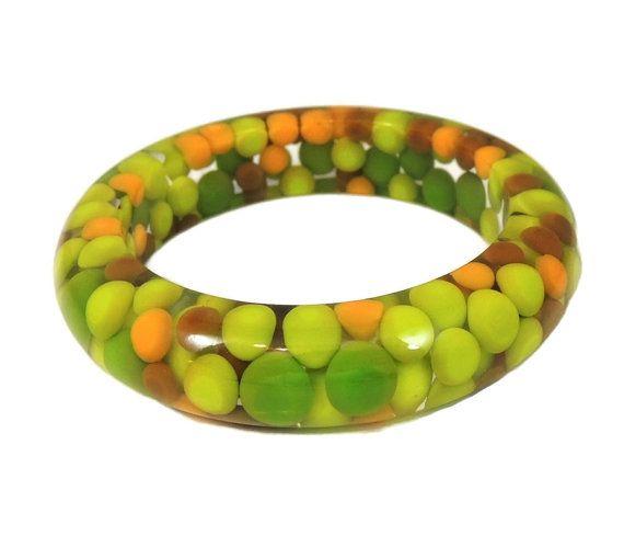 Vintage Lucite Bracelet Green Polka Dot Bangle