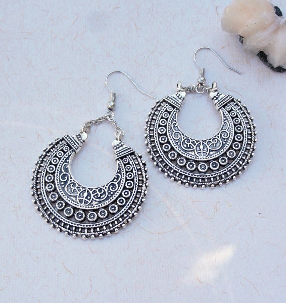 Tribal crescent earrings, ethnic chandelier earrings, large silver ...