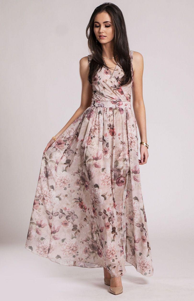 Kopertowa Sukienka Maxi W Kwiaty 209 D18 Maxi Dress Dresses Fashion