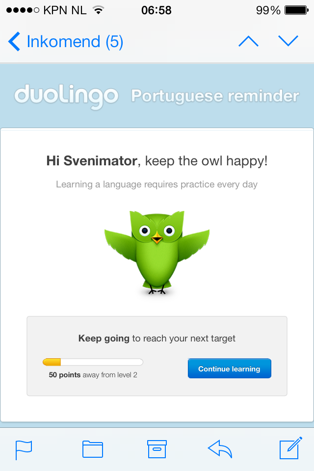 DuolingoCom  Nice And Personal Reminder Email To Practice Every