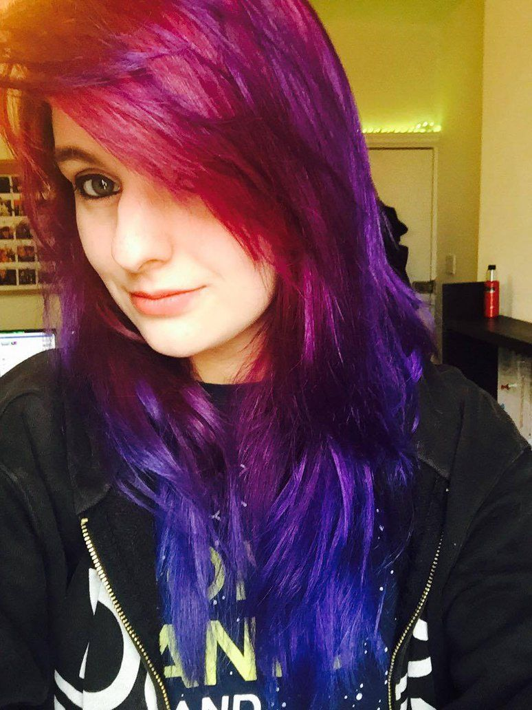 Galaxy Hair Done With Rubine Plum And Midnight Blue Directions Dye D Funky Hairstyles Midnight Hair Cool Hairstyles