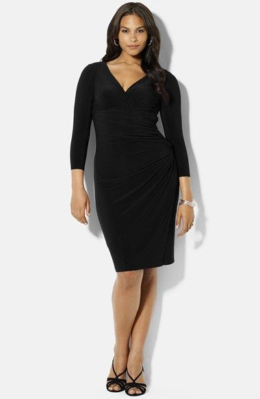 Lauren Ralph Lauren Side Ruched Matte Jersey Dress (Plus Size) available at #Nordstrom