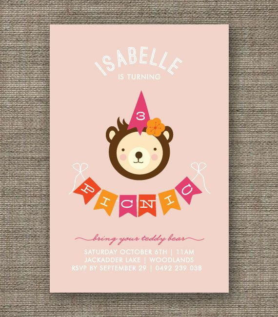 Teddy Bears Picnic Invitation For Girl St Nd Rd Th Th