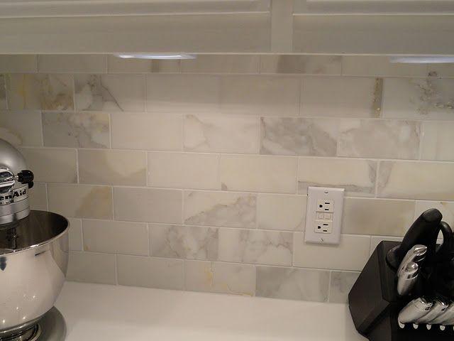 calacatta marble subway tile backsplash