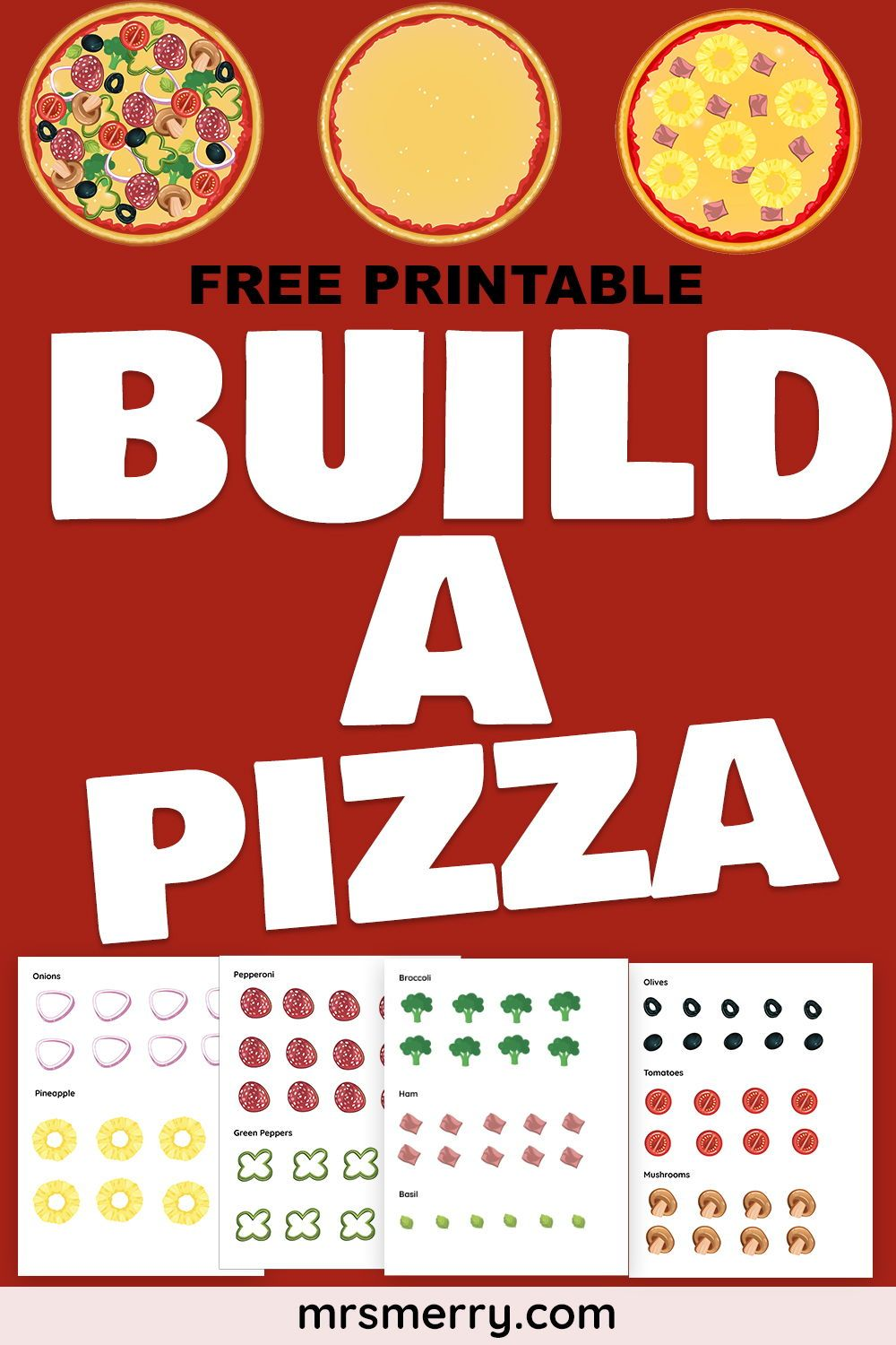 Make a Pizza Printable Cutouts in 2020 (With images