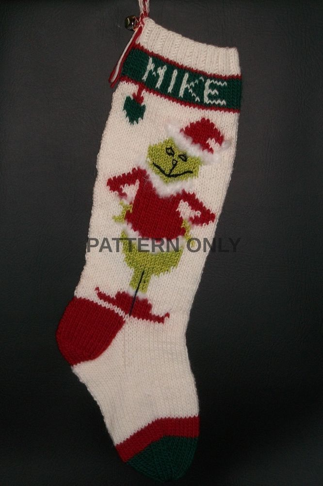 7404cb2d3ab Pattern Only Hand Knitted Grinch Christmas Stocking  OriginalDesign