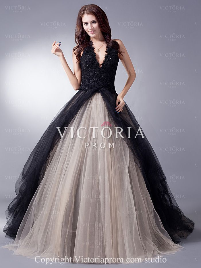 dark blue poofy evening gowns | Black Champagne Ball Gowns With ...
